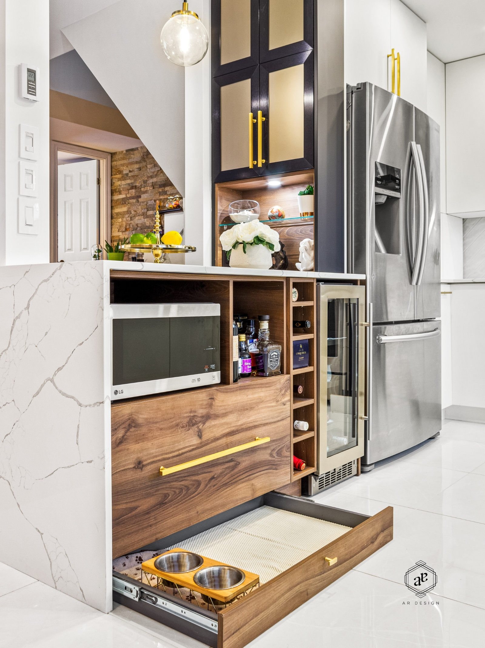 modern kitchen design dog drawer toe kick island